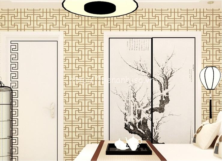Giấy dán tường 3D - Họa tiết đan đơn giản phong cách Trung Quốc