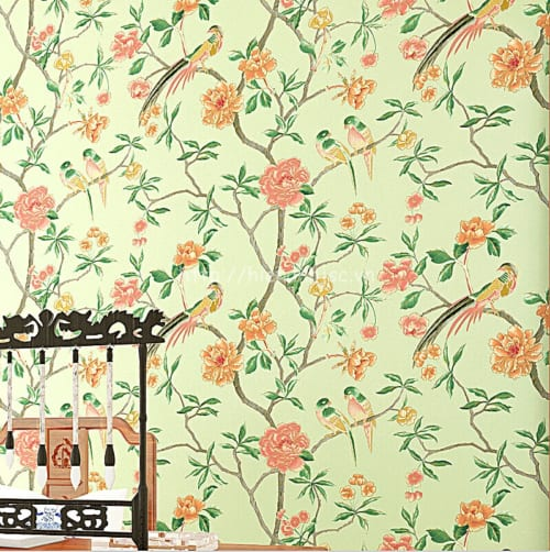 3D131-1-giay dan tuong 3d hoa tiet hoa và chim phong cach ve tay