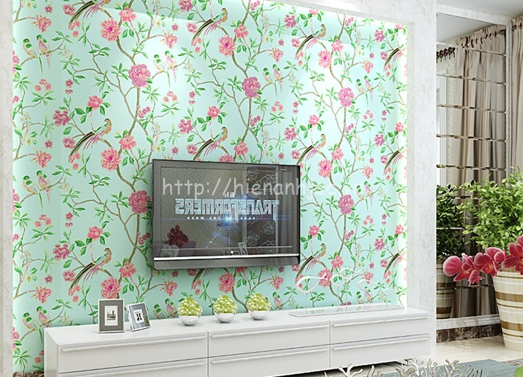 Giấy dán tường 3D - Họa tiết mùa xuân phong cách vẽ tay 3D131 mẫu 3