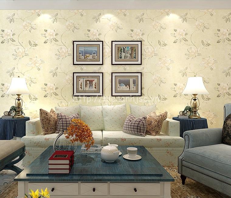Giấy dán tường 3D - Họa tiết hoa mẫu đơn phong cách Mỹ 3D134 màu vàng