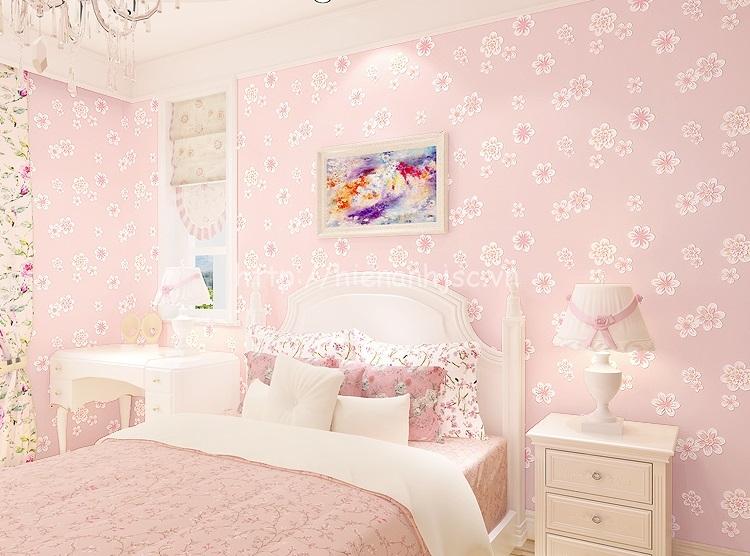 Giấy dán tường 3D - Họa tiết hoa anh đào dập nổi 3D136 màu hồng