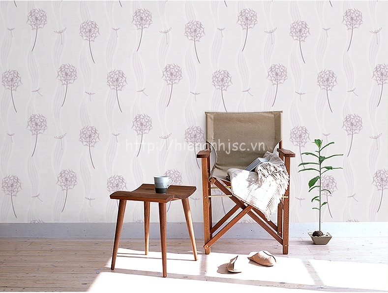 Giấy dán tường 3D - Họa tiết hoa cỏ may vân sóng 3D137 màu tím