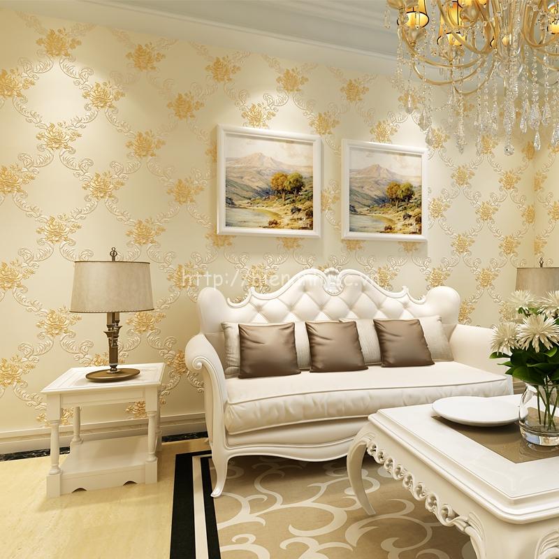 Giấy dán tường 3D - Họa tiết hoa hồng hoa văn phong cách Châu Âu vàng