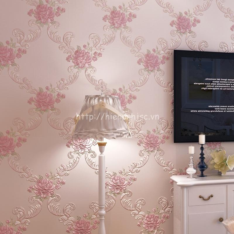 Giấy dán tường 3D - Họa tiết hoa hồng hoa văn phong cách Châu Âu hồng