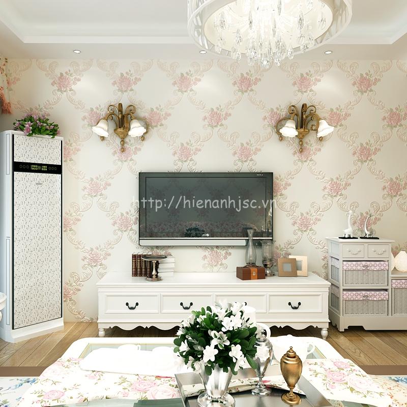 Giấy dán tường 3D - Họa tiết hoa hồng hoa văn phong cách Châu Âu trắng
