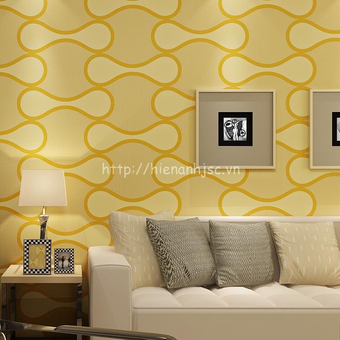 Giấy dán tường 3D - Họa tiết vòng cung hiện đại 3D124 Vàng