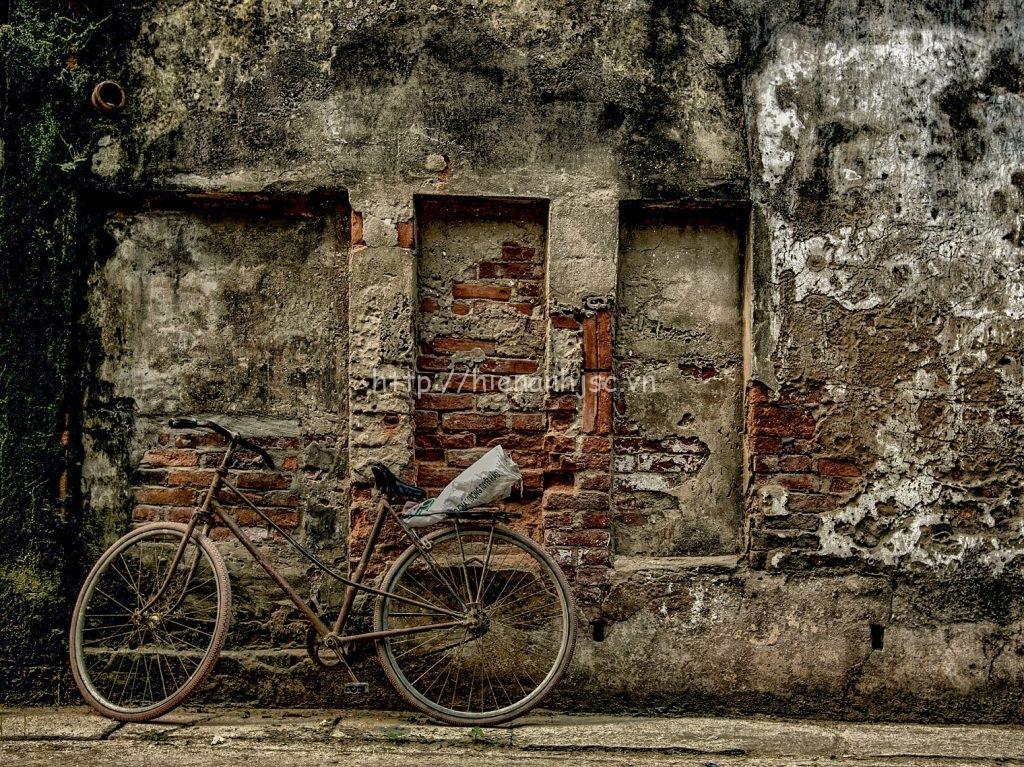 Tranh dán tường - Tranh bối cảnh xe đạp và tường cổ 5DVN005