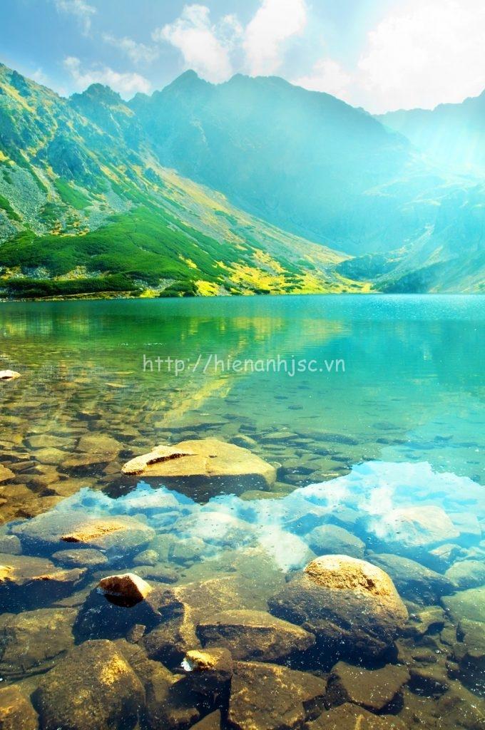 Tranh dán tường 3D 5D phong cảnh núi 010