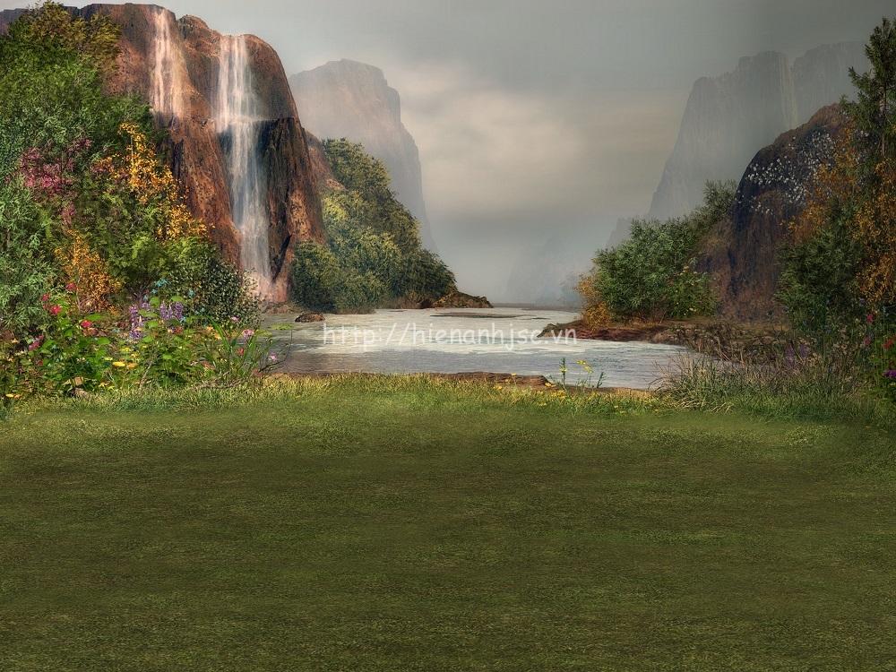 Tranh dán tường phong cảnh thác nước mã 05