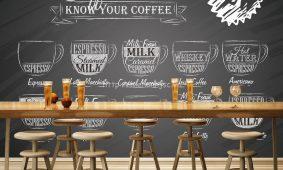 Chọn giấy dán tường, tranh dán tường 3D trang trí quán cafe