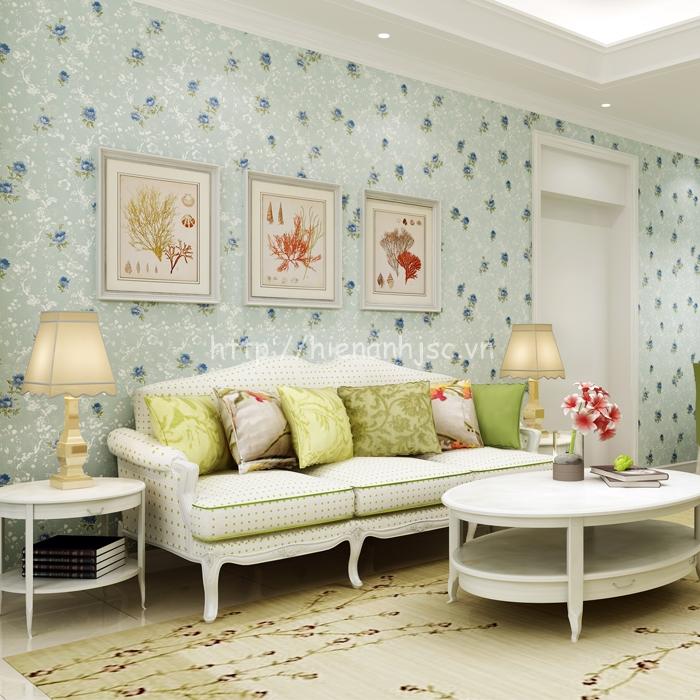 Giấy dán tường 3D - Họa tiết hoa hồng phong cách Mỹ 3D140 xanh