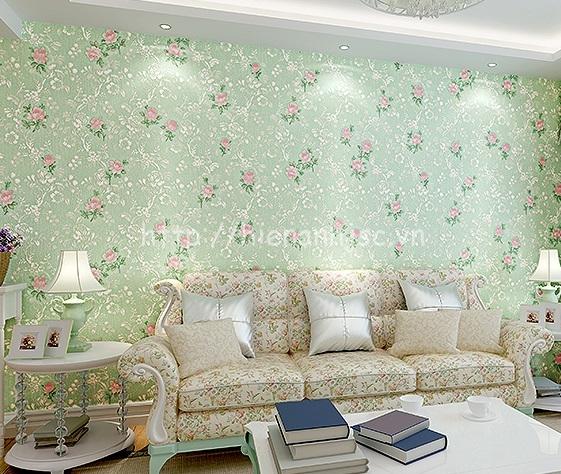 Giấy dán tường 3D - Họa tiết hoa hồng phong cách Mỹ 3D140 xanh lá mạ