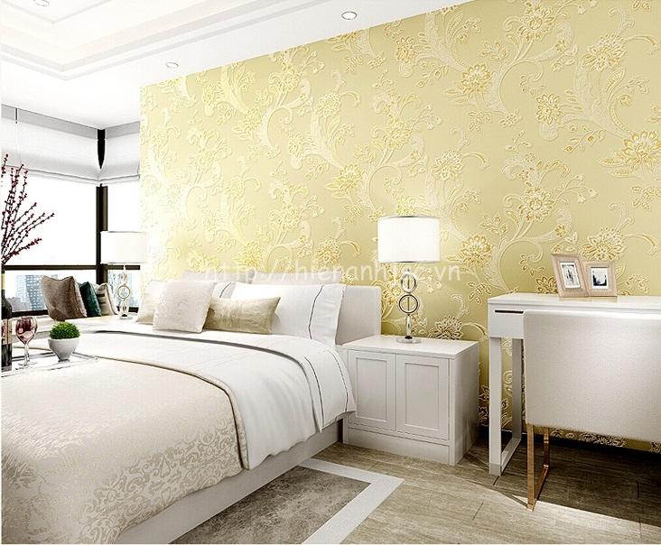 Giấy dán tường 3D - Họa tiết hoa văn dập nổi phong cách bình dị 3D143 màu vàng
