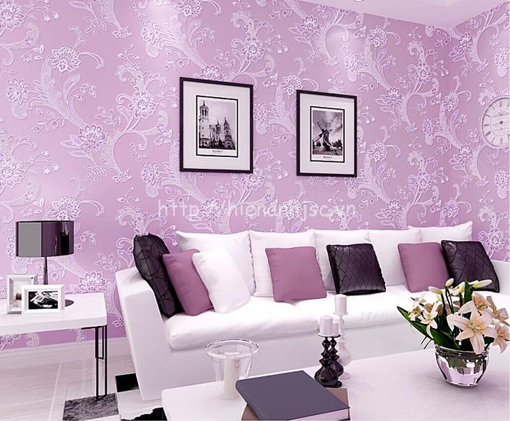 Giấy dán tường 3D - Họa tiết hoa văn dập nổi phong cách bình dị 3D143 màu tím