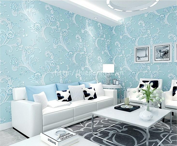 Giấy dán tường 3D - Họa tiết hoa văn dập nổi phong cách bình dị 3D143 màu xanh