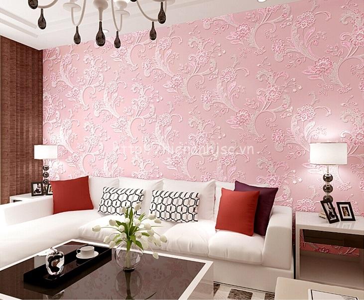 Giấy dán tường 3D - Họa tiết hoa văn dập nổi phong cách bình dị 3D143 màu hồng