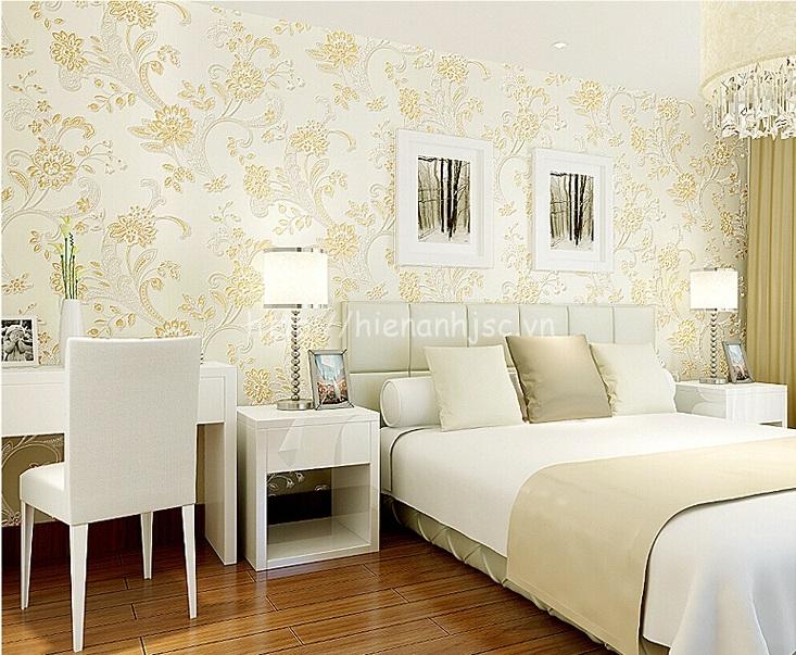 Giấy dán tường 3D - Họa tiết hoa văn dập nổi phong cách bình dị 3D143 màu trắng
