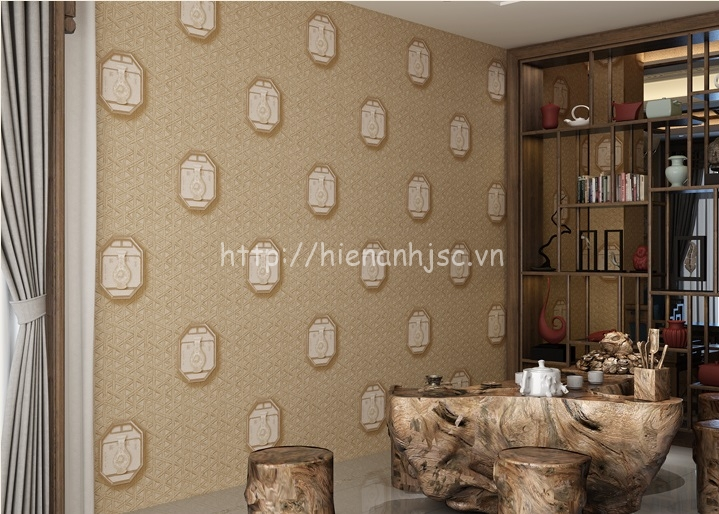 Giấy dán tường 3D - Họa tiết hoa văn bình gốm cổ điển 3D144 màu 2