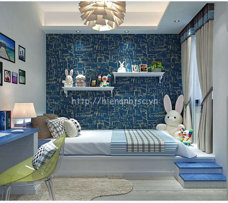 Giấy dán tường 3D - Họa tiết thành phố phong cách vẽ tay đơn giản 3D148 xanh