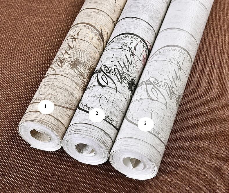 Giấy dán tường 3D - Họa tiết vân gỗ hoài cổ 3D151 có 3 màu sắc