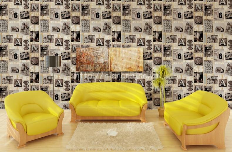 Giấy dán tường 3D - Họa tiết chữ, số phong cách retro 3D152 vàng