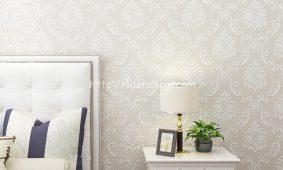 Phòng khách sang trọng với giấy dán tường 3D tông màu trắng sáng