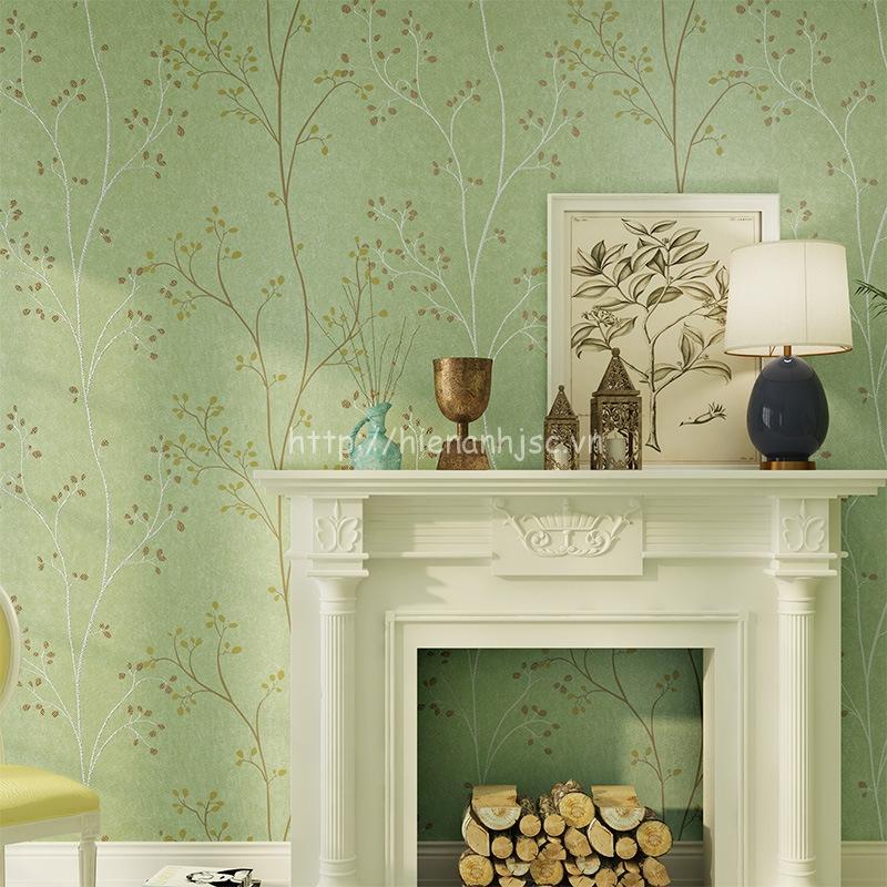 Giấy dán tường 3D - Họa tiết thân cây đơn giản 3D155 xanh