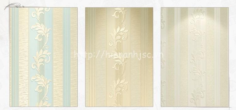 Giấy dán tường 3D - Họa tiết hoa văn kiểu dọc hiện đại 3D156 có 3 màu sắc