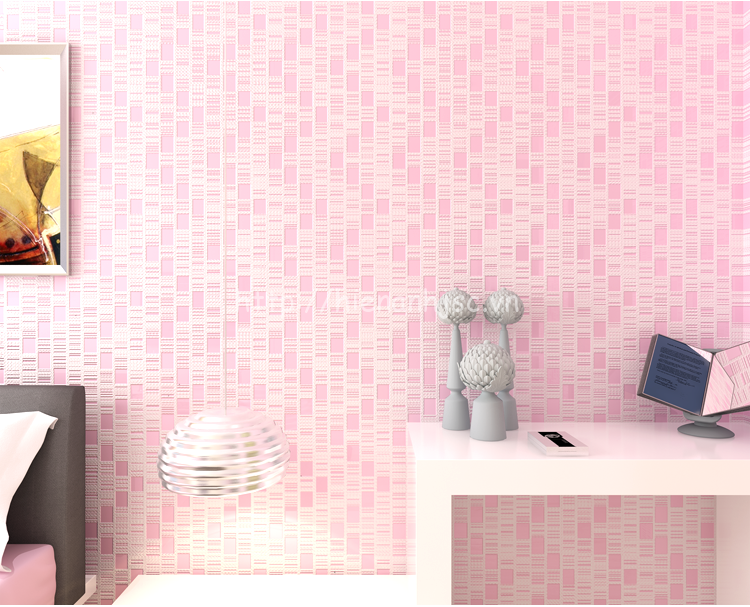 Giấy dán tường 3D - Chi tiết kẻ sọc nhỏ gọn độc đáo 3D157 hồng