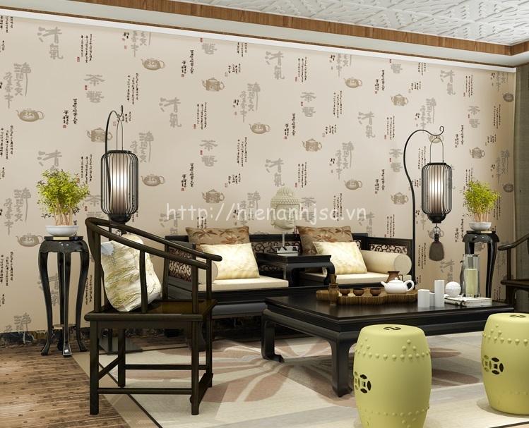 Giấy dán tường 3D - Phong cách bình trà, thư pháp Trung Quốc 3D159 màu 1