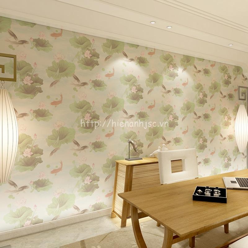 Giấy dán tường 3D - Họa tiết hoa sen và cá chép đặc biệt 3D142