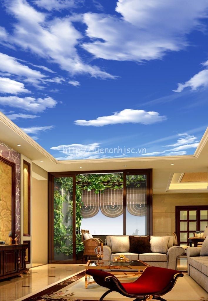 Tranh dán tường - Tranh dán trần bối cảnh trời xanh mây trắng 5D090