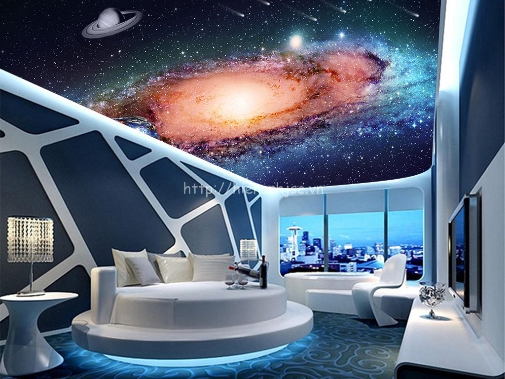 Căn phòng ngủ hiện đại, ấn tượng hơn với tranh dán trần chủ đề vũ trụ này
