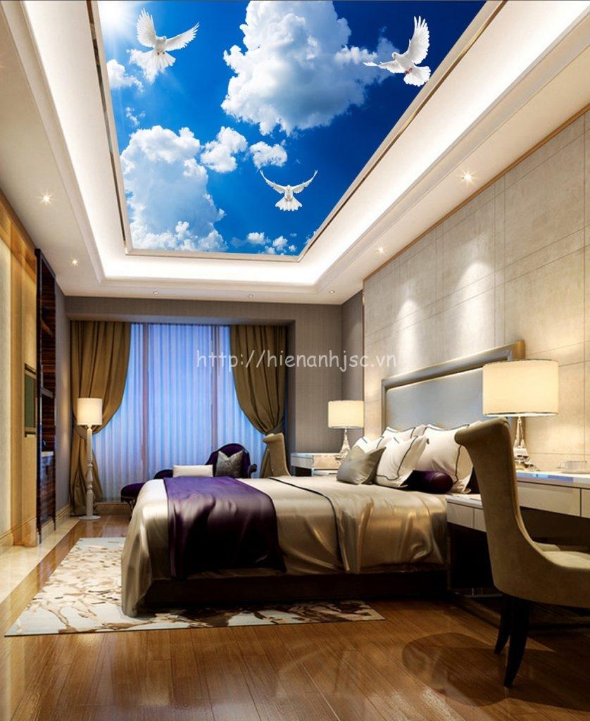 Tranh dán trần phòng ngủ bối cảnh trời xanh, chim bồ câu tự do 5D088