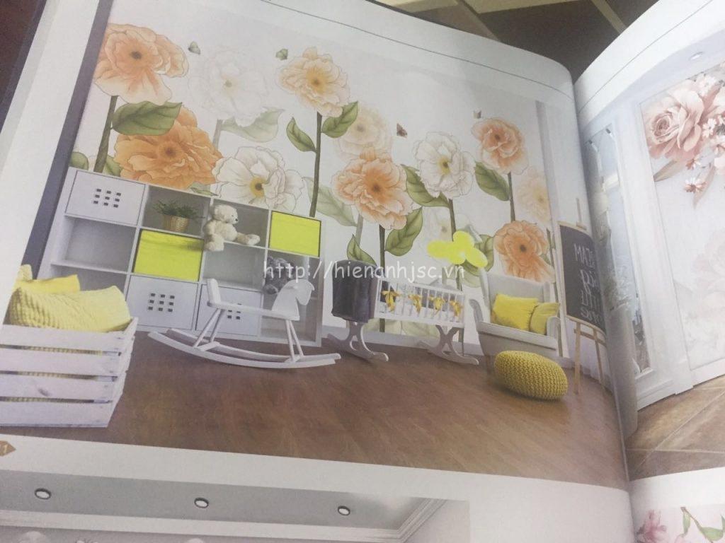 Tranh dán tường 5D hoa lá