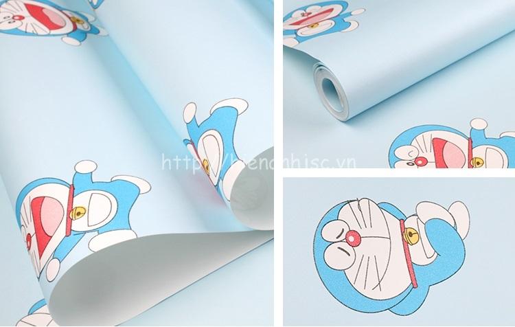 Giấy dán tường 3D - Họa tiết Doremon cho bé 3D161 màu xanh