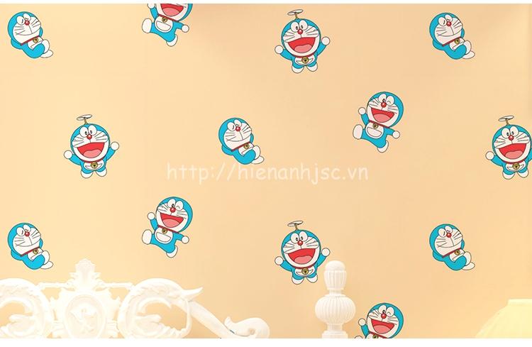 Giấy dán tường 3D - Họa tiết Doremon cho bé 3D161 màu cam