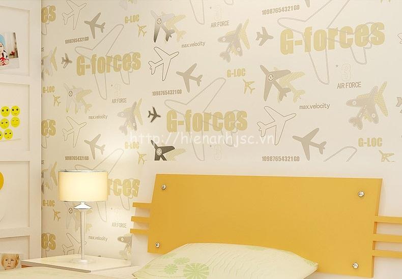 Giấy dán tường 3D - Họa tiết máy bay cho bé 3D162 màu vàng