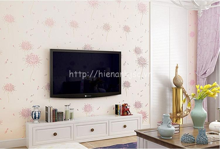 Giấy dán tường 3D - Họa tiết hoa cách điệu phong cách Hàn Quốc 3D164 màu hồng nhạt