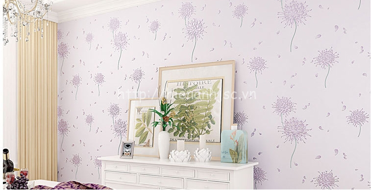 Giấy dán tường 3D - Họa tiết hoa cách điệu phong cách Hàn Quốc 3D164 màu tím