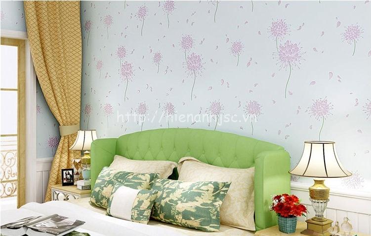 Giấy dán tường 3D - Họa tiết hoa cách điệu phong cách Hàn Quốc 3D164 màu xanh