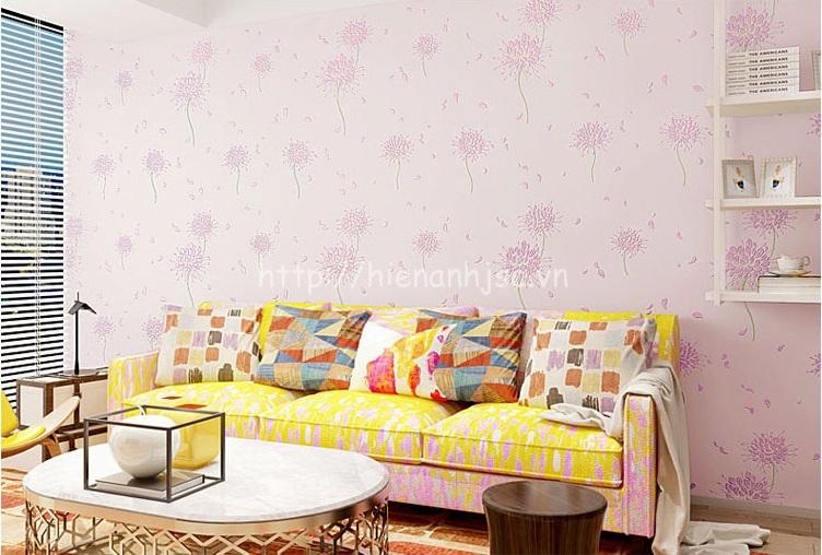 Giấy dán tường 3D - Họa tiết hoa cách điệu phong cách Hàn Quốc 3D164 màu hồng