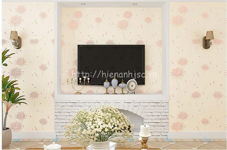 Giấy dán tường 3D - Họa tiết hoa cách điệu phong cách Hàn Quốc 3D164 màu vàng