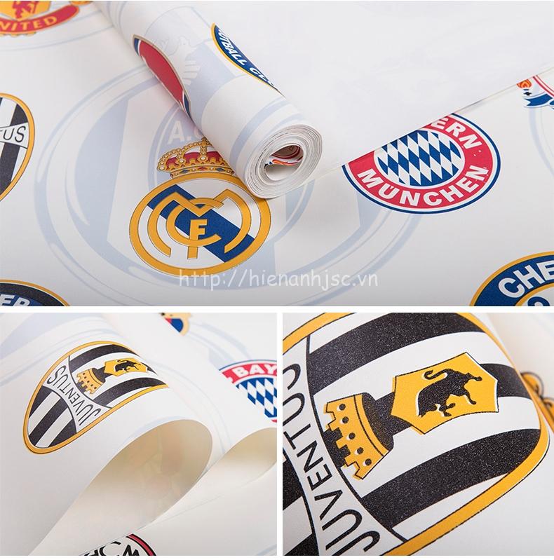 Giấy dán tường 3D - Họa tiết logo bóng đá 3D166 màu trắng