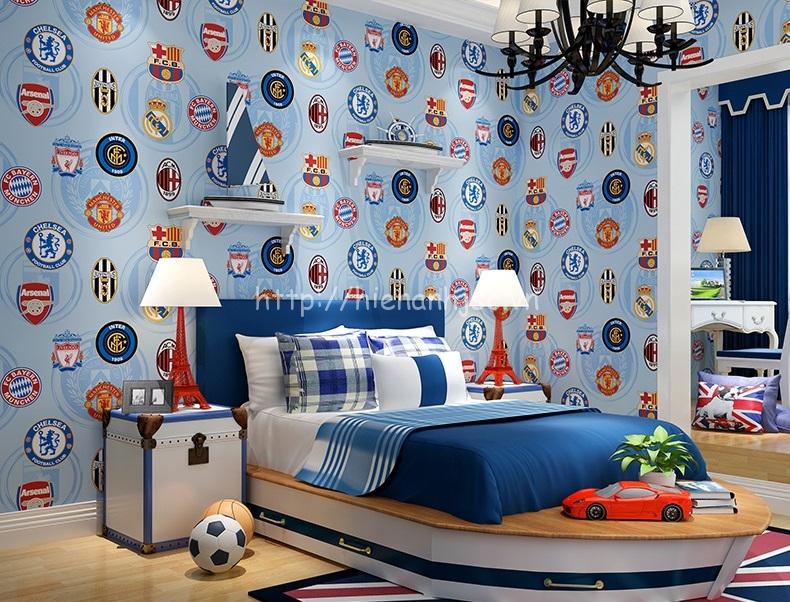 Giấy dán tường 3D - Họa tiết logo bóng đá 3D166 màu xanh