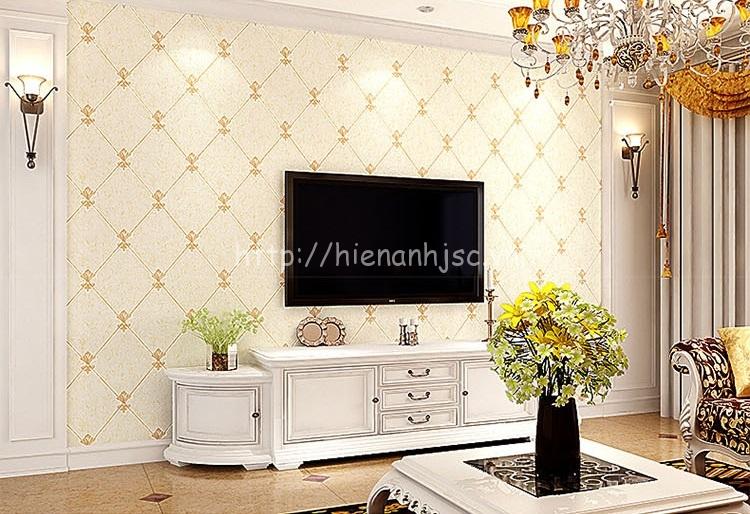 Giấy dán tường 3D - Họa tiết giả gạch hoa phong cách Châu Âu 3D167 vàng