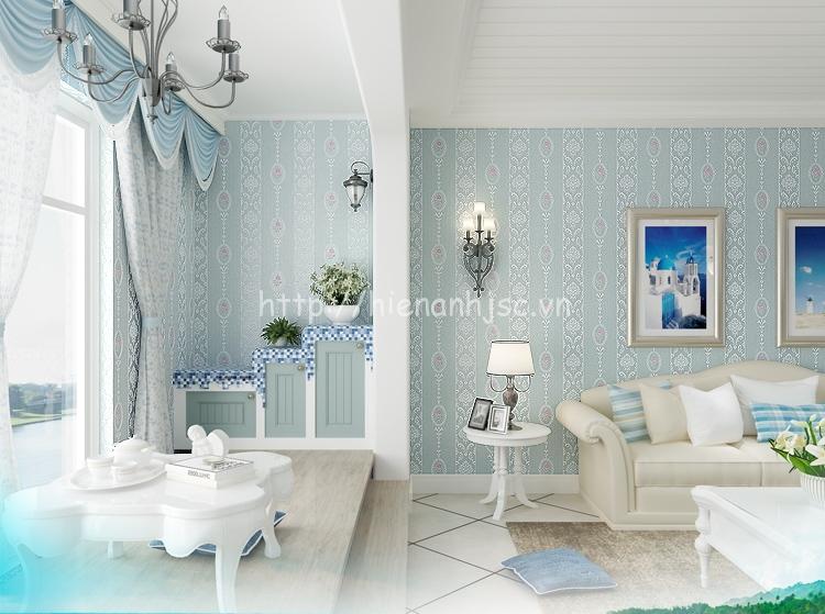 Giấy dán tường 3D168 họa tiết hoa văn dập nổi kẻ sọc có 4 màu xanh