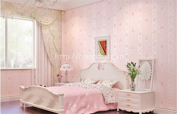 Giấy dán tường 3D168 họa tiết hoa văn dập nổi kẻ sọc có 4 màu hồng