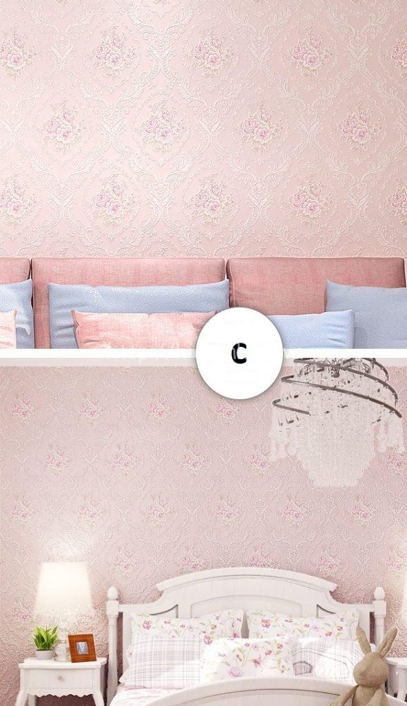 Giấy dán tường 3D - Họa tiết hoa văn dập nổi 3D169 màu hồng