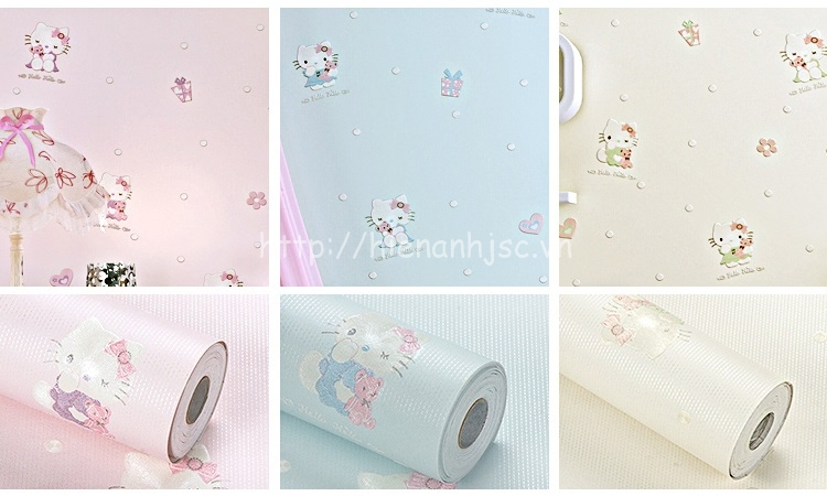 3 màu sắc nhẹ nhàng của giấy dán tường hello kitty cho bé
